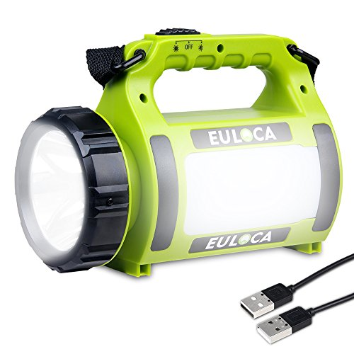 EULOCA Linterna LED Regarcable con 3 Modos,Impermeable Lámpara Camping LED Portátil, CREE LED USB Recargable 2600mAh, Farol...