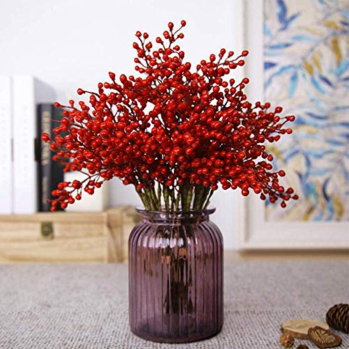 Greentime 16 Pack Artificial Red Berry Stems Holly for Christmas Tree Decorations for Crafts, Holiday and Home Decor