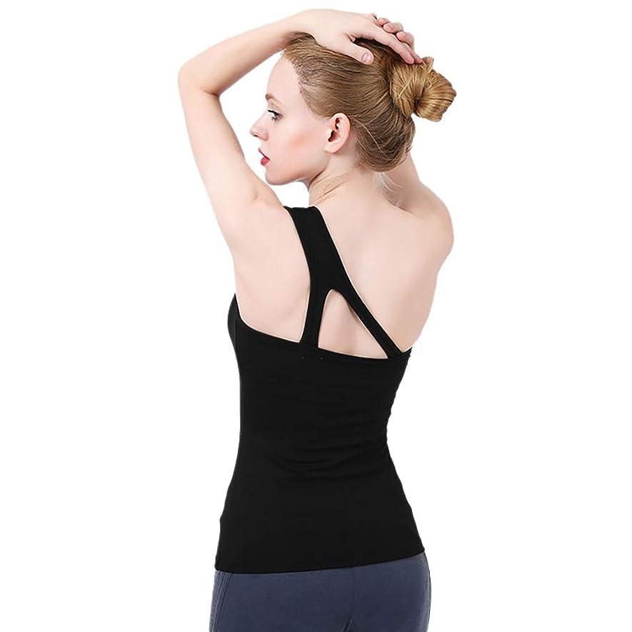 毎月ドリンク飢えレディースフィットネス速乾性フィットネス服を実行している中空ワンショルダースポーツベスト ヨガ ウェア タンクトップ (Color : Black, Size : S)