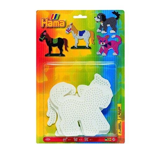 Hama - Confezione da 3 tavolette forate per Arte Creativa, Motivo: Gatto Cane Cavallo