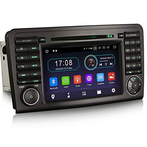 Erisin Android 10.0 7 ' Autoradio DVD Für Mercedes Benz Klasse M/ML / Gl W164 X164 Unterstützt DAB+ Navi Carplay DVD Bluetooth Wifi A2DP Fm/Am DVB-T2 PX30 2 GB RAM+16 GB ROM