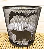 Ebros Wildlife Rustic Black Bears Roaming Pine Trees Forest by The Mountains Metal Wire Waste Basket Bin 14' Diameter Bear Home and Bathroom Accent Western Country Cabin Lodge Decorative Trash Can