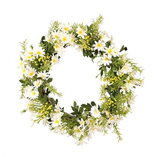Simulación de la guirnalda de la puerta principal de la guirnalda artificial primavera ornamento floral de la margarita para el hogar Party Pared ventana de la puerta Festival de decoración en blanco