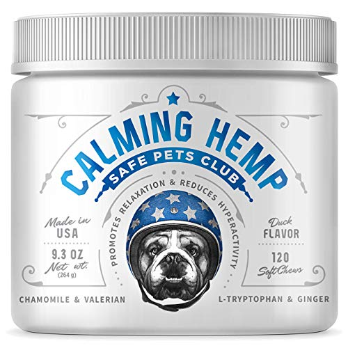 Hemp Treats – Safe Calming Treats for Dogs – Hemp Oil for Pets – Dog Anxiety Relief – Natural Calming Aid – Helps with Separation Anxiety – Storms – Fireworks – Chewing – Stress – Barking – 120 Count