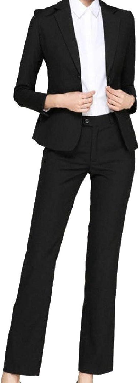 Abetteric Women's Hotel Office Solid FoldCollar 2 Button Blazer Jacket Pants