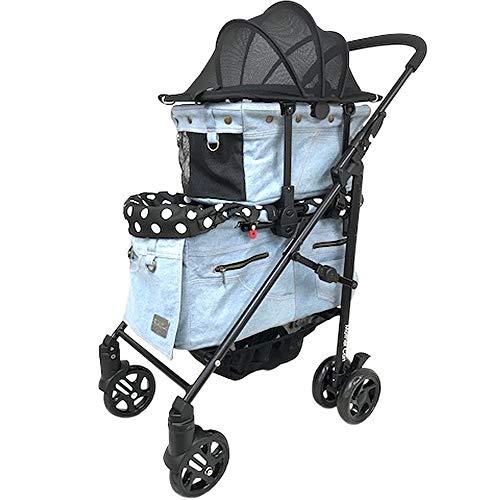 [マザーカート] Mother Cart ラプレL 上下段セット ペイルブルー ペットカート ペットキャリー 多頭飼い 旅行 介護 お出かけ