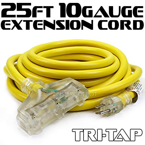 XtremepowerUS 25FT 10-Gauge Extension Power Cord Contractor Outdoor/Indoor (UL approval) 125V, 15Amp Clear TRI-TAP Plug