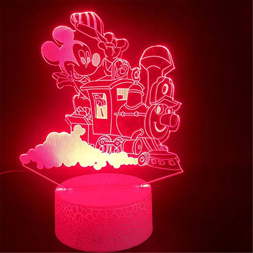 Lámpara LED 3D Ilusión 3D Luz nocturna 3D Mickey Mouse lámpara de noche que cambia de color con mando a distancia lámpara de mesita de noche, regalos de cumpleaños para niños y adultos