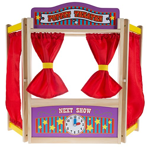 Hey!Play! Wooden Tabletop Puppet Theater with Curtains, Blackboard, and Clock- Inspires Imagination