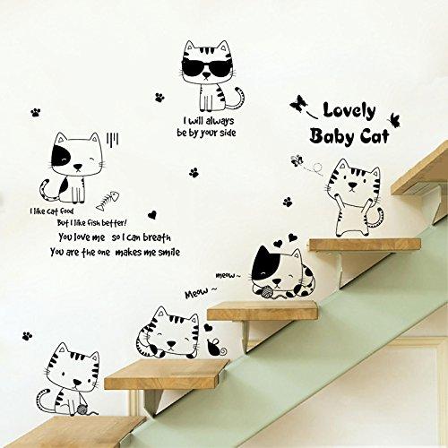 DSSJ Creatieve Zwart-Wit Kat Kinderkamer Kast Boekenkast Decoratie Stickers Woonkamer Bank Achtergrond Wanddecoratie Layout Stickers
