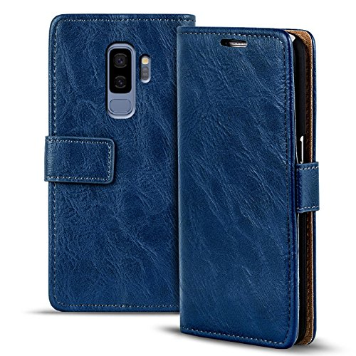 Conie RW35512 Retro Wallet Kompatibel mit Samsung Galaxy S9 Plus, Klapphülle Tasche Vintage Leder Design für Galaxy S9 Plus Etui mit Kartenfächer Vintage Blau