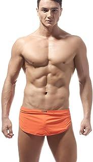 XFYS Men Sexy Underwear Shorts Boxers Comfortable Side Split Loose Pajama Bottoms-Orange_XXL_1pc