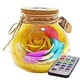 Nuohuilekeji Bloom LED Seifenrose, Glasflasche, romantische Fernbedienung, Nachtlicht gelb