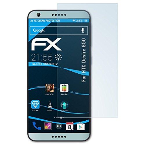 atFolix Schutzfolie kompatibel mit HTC Desire 650 Folie, ultraklare FX Bildschirmschutzfolie (3X)