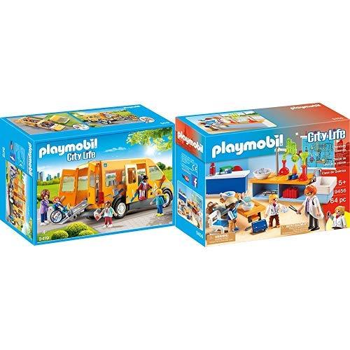 Playmobil 9419 - Schulbus Spiel & 9456 Spielzeug-Chemieunterricht