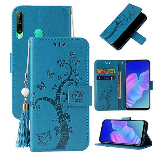 Miagon Brieftasche Flip Hülle für Huawei Y7P/P40 Lite E,Schön Schmetterling Baum Katze Design PU Leder Buch Stil Stand Funktion Handyhülle Case Cover,Blau