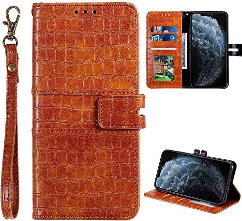 Urhause Coque Compatible avec Samsung S10 Plus Portefeuille Cuir Design Peau Crocodile Housse Etui Protection Ultra Fine Mince Case PU Folio Pochette Fermeture Magnétique Fonction Support,Marron