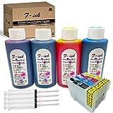 FINK Cartucho de tinta recargable 16XL y tinta 4x100ml, compatible con Impresora Epson WorkForce WF-2630WF WF-2530WF WF-2760DWF WF-2510WF WF-2650DWF WF-2520NF WF-2660DWF WF-2750DWF WF-2540WF