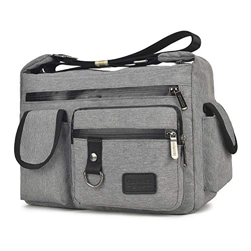 Wxnow Multi Pocket Crossbody Bag for Women, Travel Shoulder Bags Waterproof Messenger Bag Work Bag Teacher Purse and Handbags (C-Light Grey)