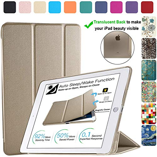 DuraSafe Cases for iPad Mini 4-7.9 Inch 2015 [ A1538 A1550 ] Smart Cover with Translucent Back - Gold (Trifold)