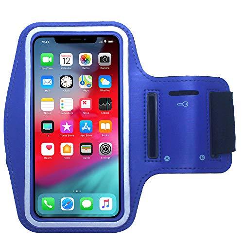 CBUS - Brazalete Deportivo para Footing, Jogging, Correr y Entrenar. Compatible con iPhone 12 Mini/12/12 Pro/11 Pro/Xs/X/8/7/6S/6/SE/5S/5C/5/iPod Touch (Azul)