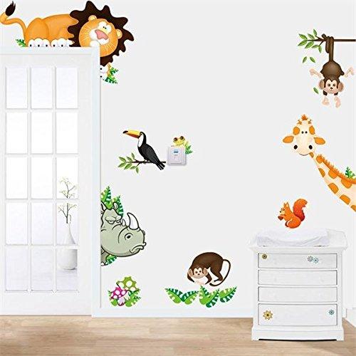 Mark8shop Dieren Dierentuin Jungle Cartoon PVC Muur Papier Board Stickers Decals Kids Kwekerij Babykamer Decoratie DIY Aap