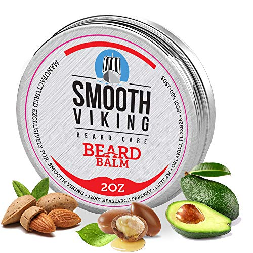 Beard Balm for Men   Smooth Viking Beard Balm with Essential Oil & Beeswax (2 Oz) - Strong Hold Beard Styling Balm, Natural Leave-In Beard Balm to Boost Healthy Beard & Mustache Growth (Beard Balm, 2 oz)