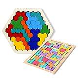 IWILCS Tetris y Hexagon Puzzle de madera Tetris Tangram Puzzle Montessori Juguetes Tangram Madera Niños a partir de 5 años Juego de concentración Juego de habilidad Juego de táctica