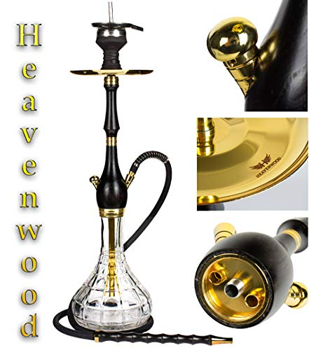 Heavenwood© Holz Shisha Set Edelstahl schwarz 65cm Hookah V2A Komplettset in Gold | Wasserpfeife Closed Chamber Silikonschlauch Holzmundstück Steinkopf