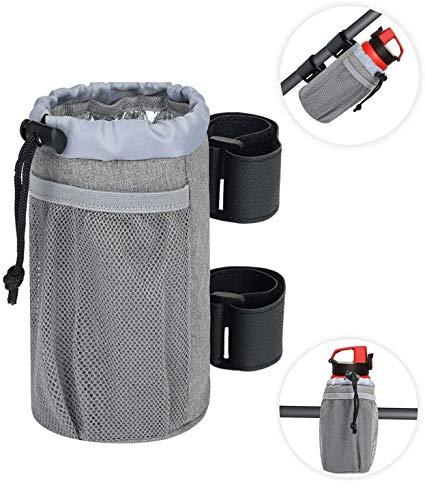 SHENGYUE Bar-Getränkehalter, UTV-Becherhalter für Roller/Fahrrad/Boot/Golf/Rollstuhl, Klett-Flaschenhalter mit Netztasche, verstellbares Verschluss, Bootszubehör, Grau, 17,8 x 8,3 cm