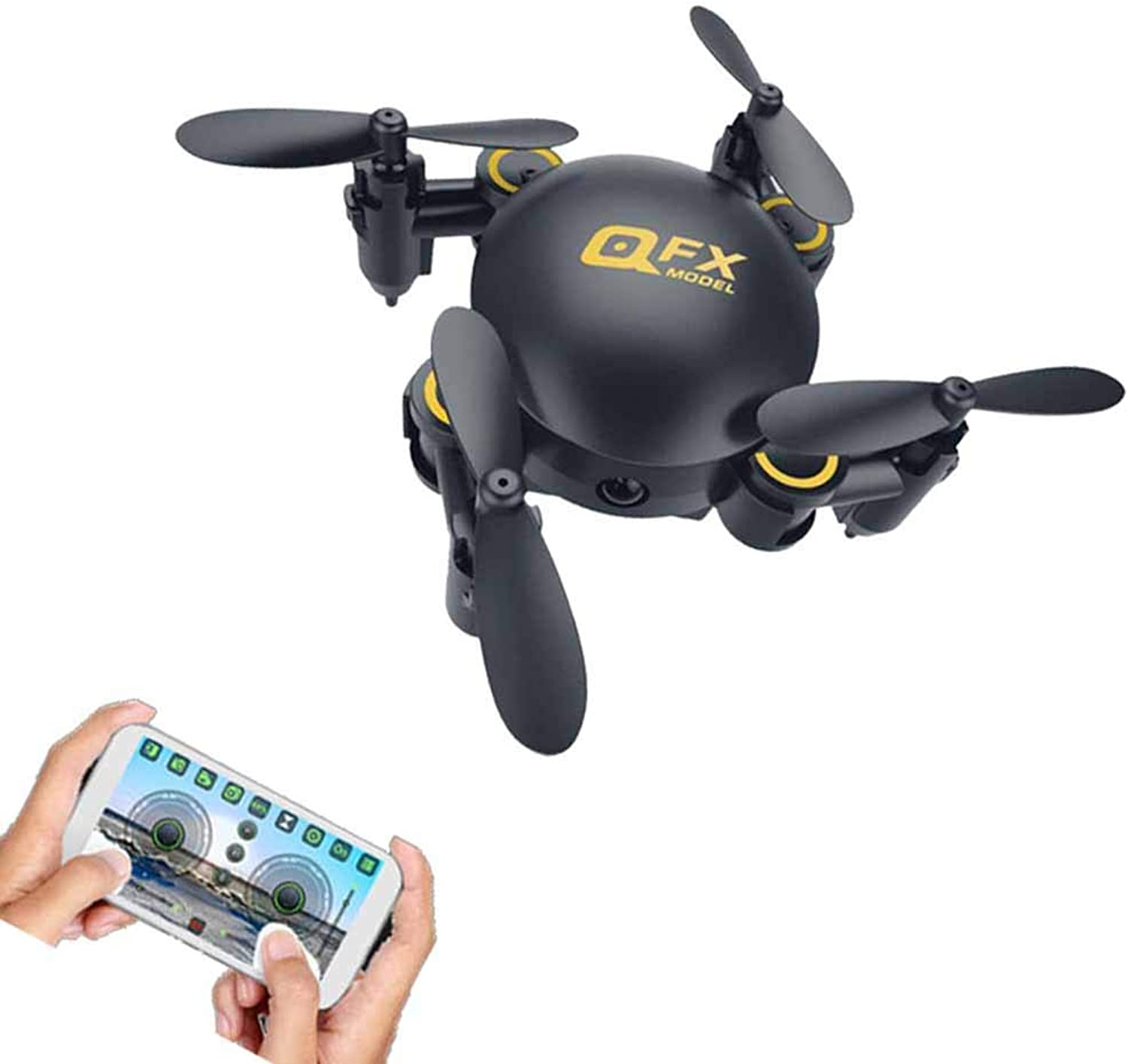 FTOPS Mini-Drohne mit Kamera, FPV-RC-Quadcopter-HD-Live-Video mit HD-WLAN-Kamera, Hhenstand, Headless-Modus, One Key Return, One Key-Start Landing und 3D-Flips