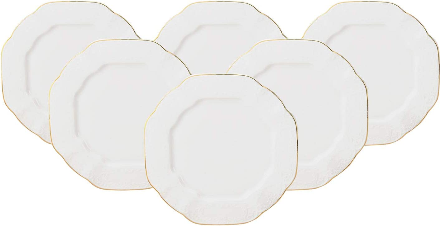 Royalty Porcelain 6-pc Gold Rim Polygonal Plates D High quality new 6 Max 82% OFF for of Set