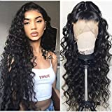 Neflyon Lace Front Perücken Human Hair Pre Plucked Hairline with Baby Hair Brazilian Virgin Hair for Black Women Loose Wave Lace Closure Human Hair Wigs 150% Density Nature Color 24inch