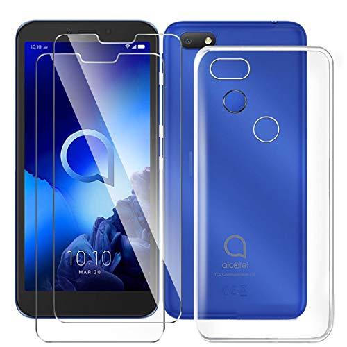 HYMY Hülle für Alcatel 1V 2019 Smartphone + 2 x Schutzfolie Panzerglas - Transparent Schutzhülle TPU Handytasche Tasche Durchsichtig Klar Silikon Hülle für Alcatel 1V 2019 (5.5