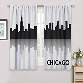 GUUVOR Chicago Skyline All Season Insulation Downtown Skyscrapers Illinois Tourism Travel Country Urban Minimalist Noise Reduction Curtain Panel Living Room W42 x L72 Inch Black and White