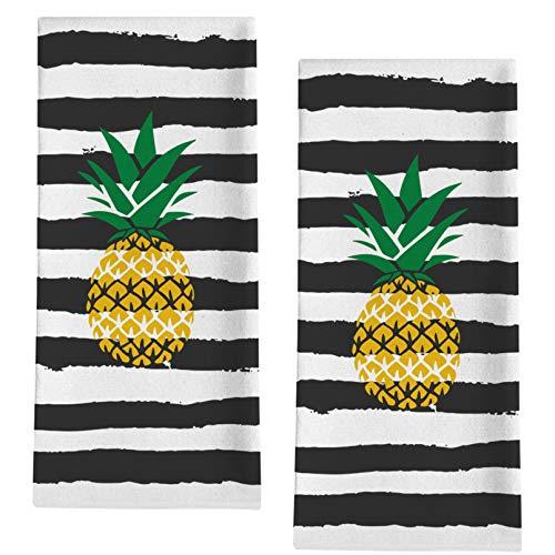 "Seliem Pineapple Decorative Kitchen Dish Towel, Summer Black Striped Bath Fingertip Towel Tea Bar Hand Drying Cloth, Spring Watercolor Dining Decor Sign Seasonal Home Farmhouse Decoration 18"" x 28"""