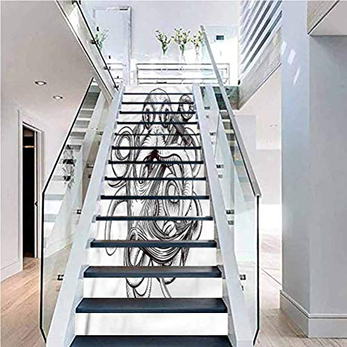 3D Self-Adhesive Stairs Risers Stickers, Anchor Octopus Tattoo Design, for Wedding Home Restaurant Decals, W39.3 x H7.08 Inch x13PCS