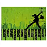 ScottDecor Popstar Party Fish Tank Music in The City Theme Singer with Electric Guitar on Grunge Backdrop Decals Sticker Lime Green Black W24 X L16 Inch