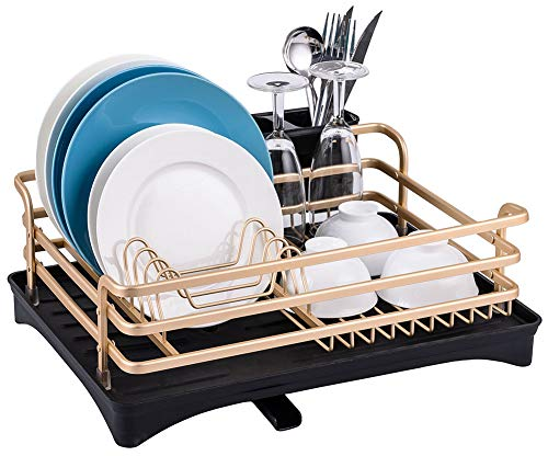 Aluminum Dish Drying Rack - Dish Drainer for Kitchen Counter Top Rust Proof, 16.5 x 11.8 x 5.7 inch small Dish Rack, Drain Board with Adjustable Swivel Spout and Utensil Holder