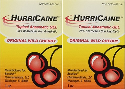Beutlich LP Pharmaceuticals Hurricaine Topical Anesthetic Gel, Wild Cherry, 1 Ounce- Pack of 2