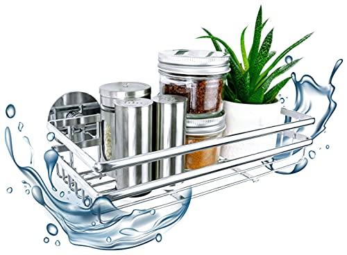 Küchen Organizer für Gewürze, Vorratsdosen Küchenablage, Teedosen / Aufhängen ohne bohren/ Chrom Wandregal hängend aus Metall / Küchenregal selbstklebend 25 x 7 x 12 cm breit
