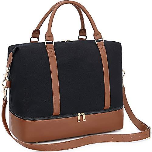 LEDAOU Weekender Damen Reisetasche Tasche mit Schuhfach Canvas Handgepäck Tasche Sporttasche Travel Bag (schwarz)