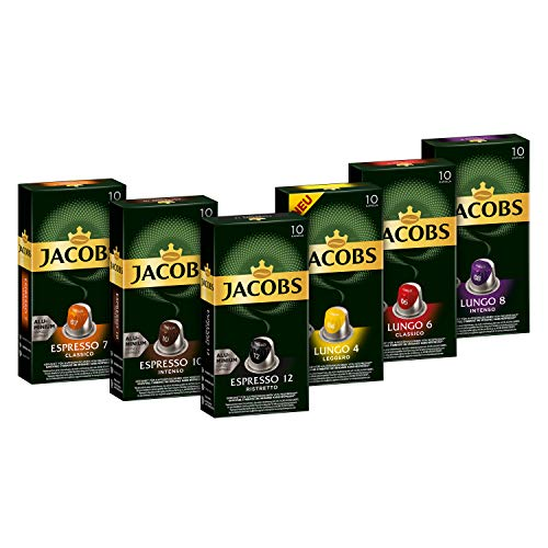 Jacobs Kaffeekapseln, Probierbox Nespresso®* kompatible Kapseln mit 6 verschiedenen Sorten, 6 x 10 Getränke
