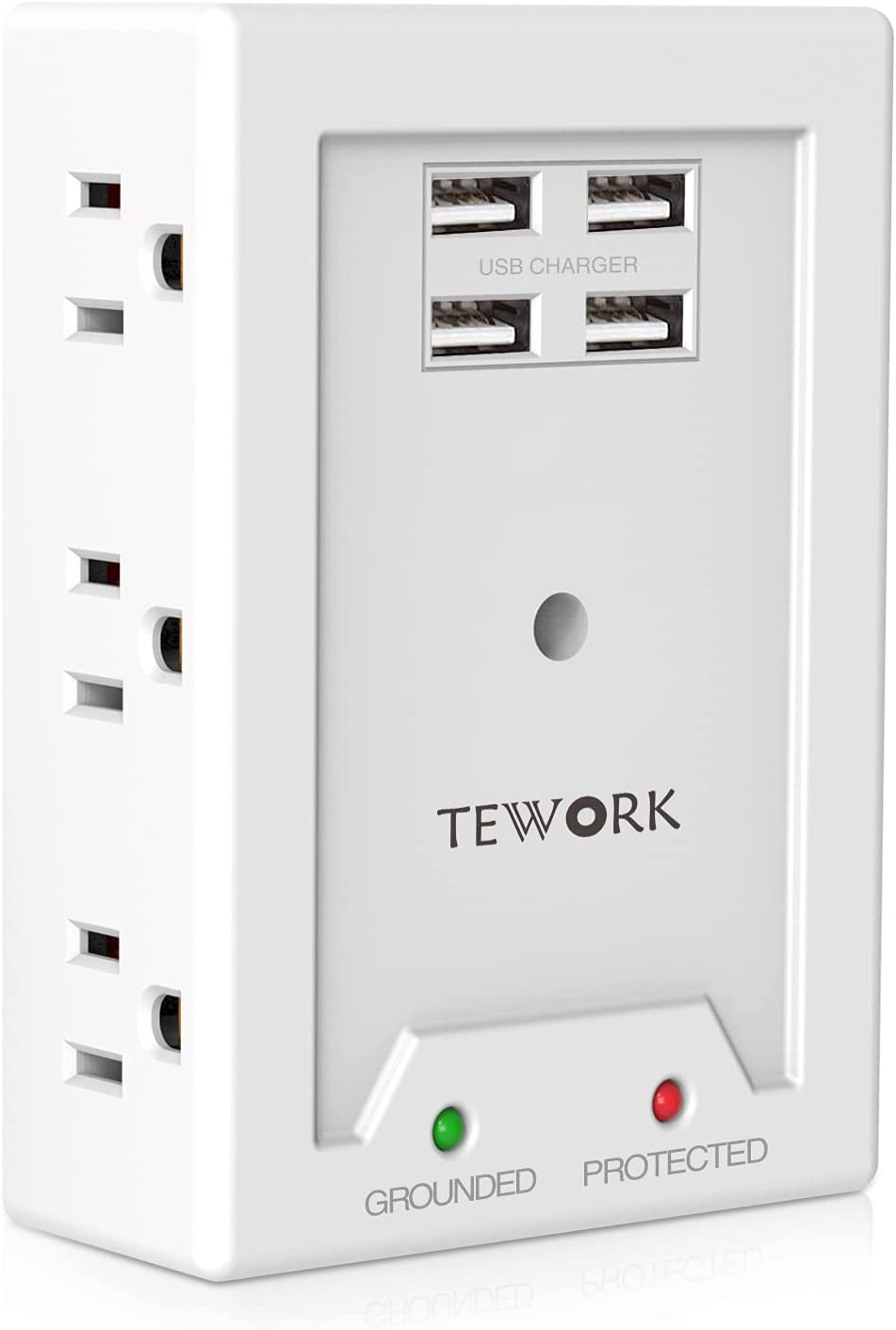 USB Wall Charger Surge Protector - TEWORK Multi Plug Outlet Extender with 4 USB Ports(Smart 3.1A Total), 6-Outlet Wall Mount Adapter Widely Spaced with Top Phone Holder, White