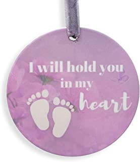 BANBERRY DESIGNS Angel Baby Memorial Christmas Ornament – in Loving Memory of Our Little Angel Ceramic Ornament – Footprint and Heaven Design – Keepsake Memorial Ornament- Little Angel Miscarriage