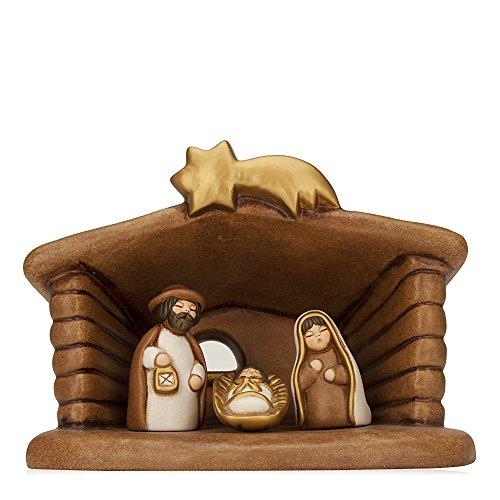 THUN - Set Presepe Classico Capanna E Sacra Famiglia - Ceramica - 19 Cm H