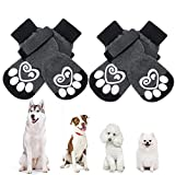 KOOLTAIL Dog Socks Anti-slip Dog Paw Protector Dog Boots 2 Pairs Adjustable Dog Socks For Pet indoor & outdoor Walking