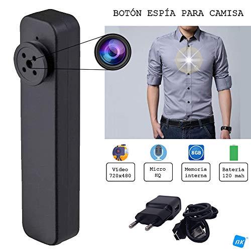 NK Cámara espía para Camisa/Chaqueta Mini Videocámara Espía Oculta, 720x480 Cámara de Vigilancia Portátil, Cámara de Seguridad Micro - 8GB Integrados Vídeo/Foto - Color Negro