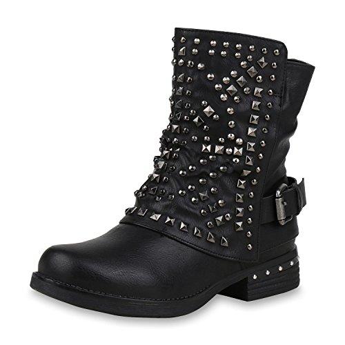 SCARPE VITA Leicht Gefütterte Damen Stiefel Biker Bootsn Stiefeletten 157081 Schwarz Nieten 36