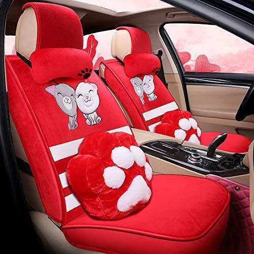 Inverno caldo velluto copertura di sede sveglio della Dea Nuova Car Seat Cuscino Inverno Autunno Inverno All-Inclusive peluche,Rosso